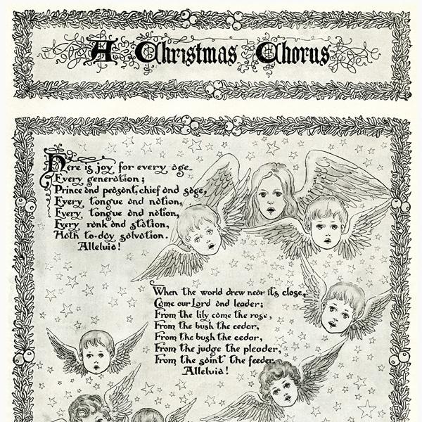 A Christmas Chorus, angel, cherub, Christmas song, free vintage image