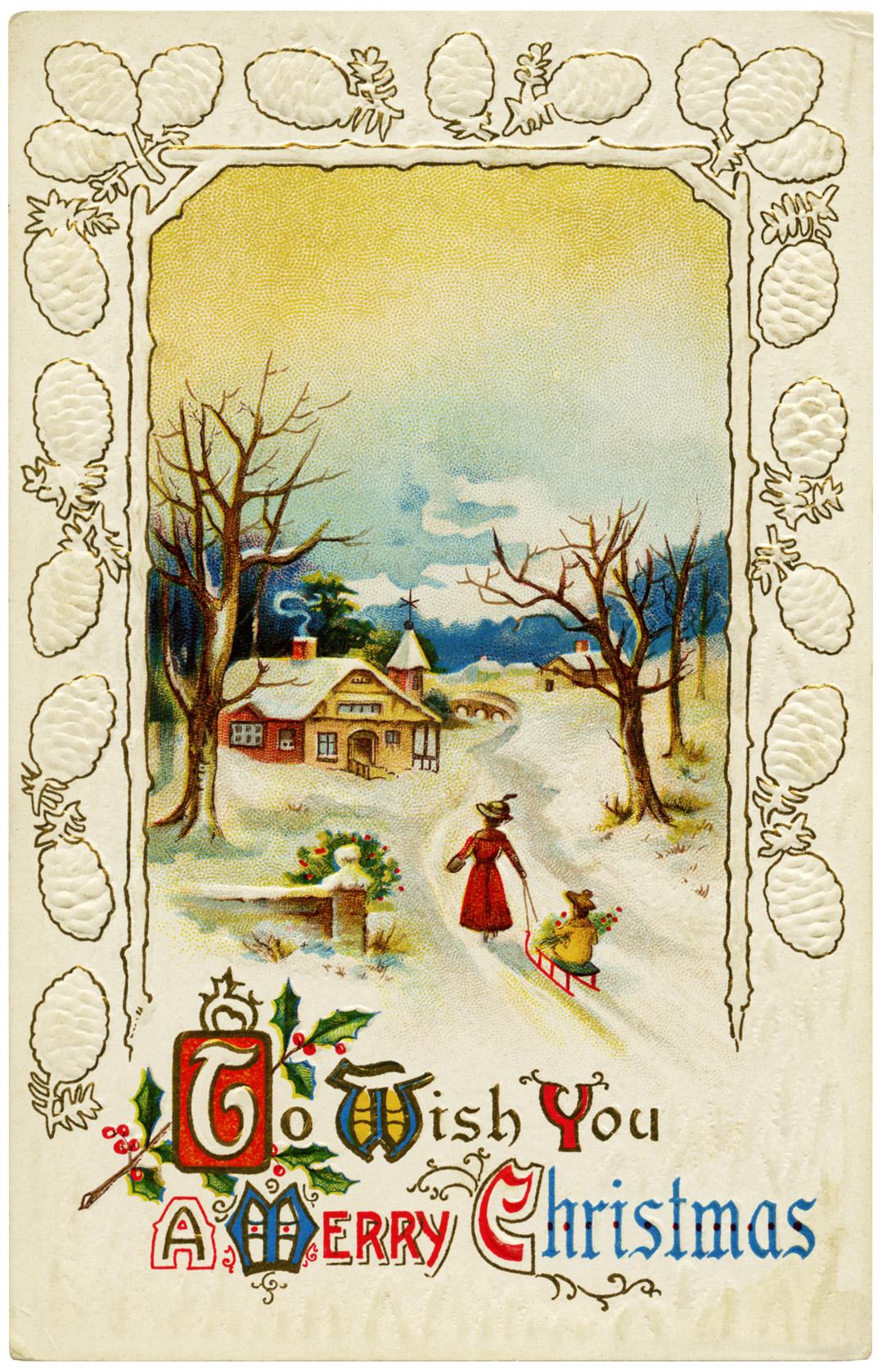 Free digital merry christmas vintage postcard old design shop blog