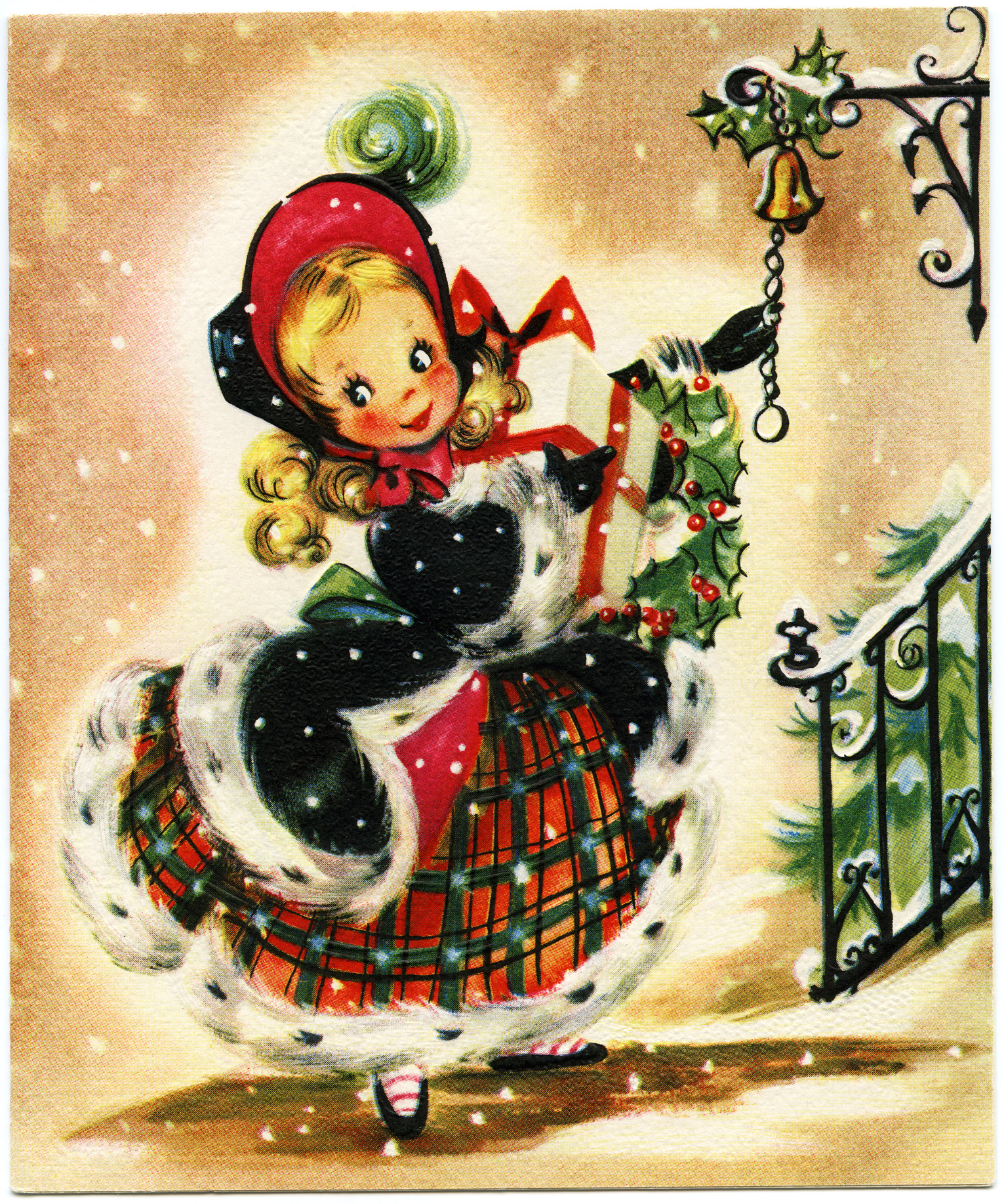 Free printable vintage christmas cards - Girl With Gift Vintage Christmas Card