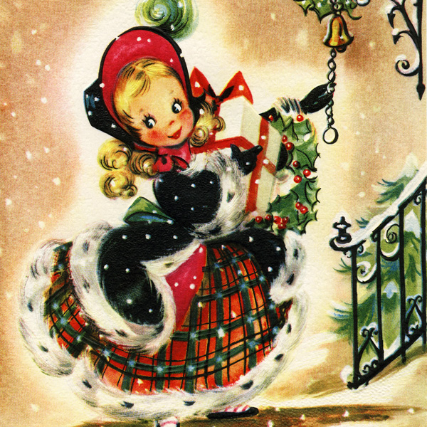 free Christmas card, free vintage Christmas image, girl with Christmas gifts, old fashioned Christmas card, public domain greeting card, vintage Christmas greeting card