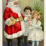 Free Digital Vintage Postcard Santa Giving Gifts