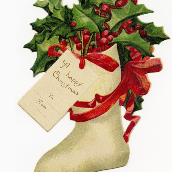 antique clipart tag, free Christmas image, free digital Christmas tag, Victorian gift tag, vintage Christmas clipart, vintage stocking holly image