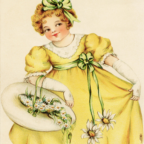 antique postcard, free vintage valentine, girl in yellow dress, hat with daisies, public domain image, vintage child postcard, vintage valentine postcard