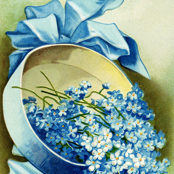 antique easter postcard, blue clapsaddle, blue hat flowers, easter postcard, Ellen Clapsaddle postcard, free vintage digital postcard, hat filled with flowers, old fashioned easter