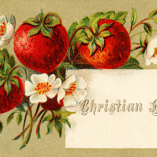 free vintage clipart, free vintage image, strawberry illustration, Victorian calling card, vintage ephemera
