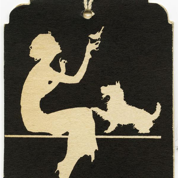 free printable, silhouette schnauzer dog, silhouette woman bird dog, vintage bridge score card, vintage bridge tally, vintage ephemera, vintage tag with string