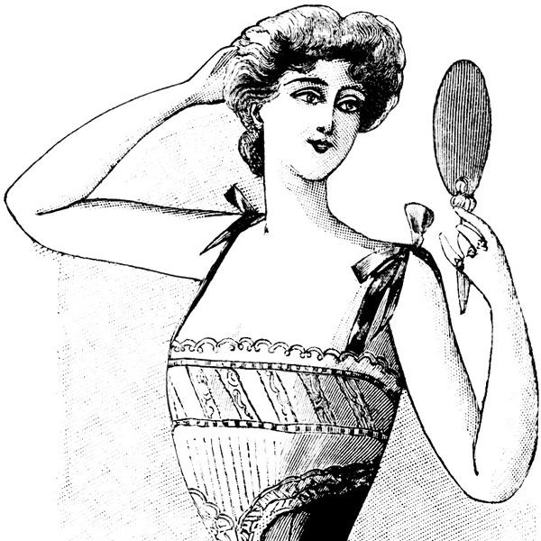 vintage French corset ad, le petit echo de la mode advertisement, free vintage clipart fashion, Victorian fashion image, Victorian corset illustration