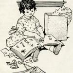 free vintage image, free vintage clipart, vintage scrapbooking image, free printable, little girl scrapbooking, public domain digital image, image for graphic design, little girl with book, vintage illustration children