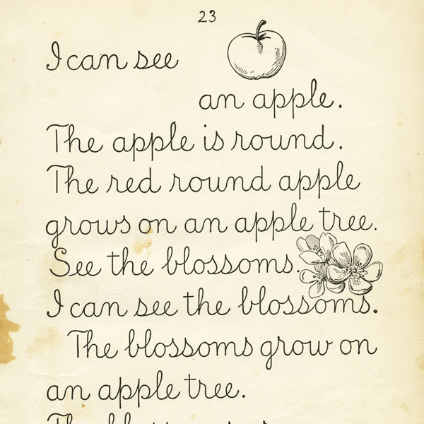 vintage school lesson, old school book page, about an apple, aged book page, free vintage clipart, digital image for graphic design, school page for scrapbooking