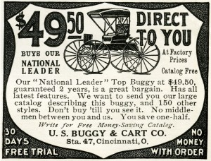 free vintage image buggy, horse and buggy ad, 1907 buggy advertisement, antique buggy illustration, U.S. Buggy & Cart Co, national leader top buggy