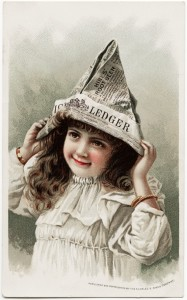 hires beer, vintage trading card, victorian advertising card, newspaper hat, girl with paper hat, free vintage image child, old medicine