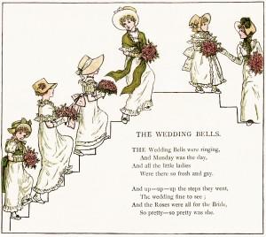 the wedding bells, kate greenaway, marigold garden, free vintage image, free clipart wedding, old fashioned wedding illustration, vintage bridesmaids image