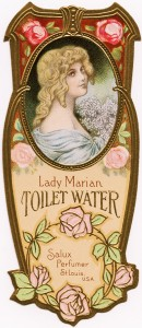 antique label, free vintage image, free clipart beauty label, lady marian toilet water, vintage perfume label, salux perfumer label