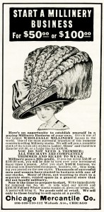millinery business vintage ad, free vintage image, vintage magazine ad, huge ladies hat, extravagant large victorian hat, free vintage clipart hat, chicago mercantile co vintage advertisement