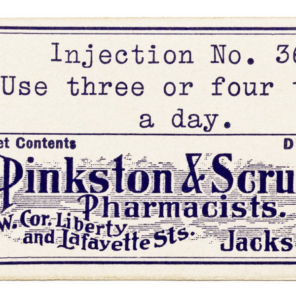 vintage pharmacy label, pinkston scruggs pharmacists label, antique medical label, halloween label, jackson tenn pharmacy, free digital image, vintage clipart label, old pharmacy label