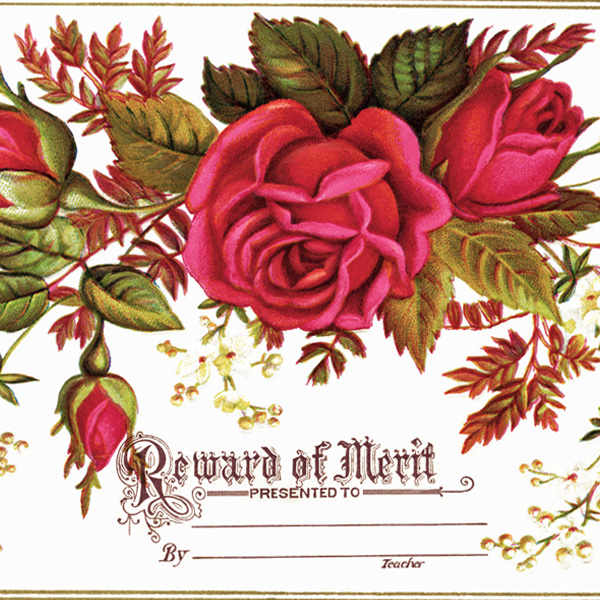victorian reward of merit, vintage clipart roses, victorian card flowers, old card with flowers, pretty vintage card, free vintage image rose, flourish of leaves and flowers illustration