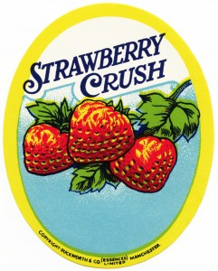strawberry crush, vintage label, free vintage clipart strawberry, duckworth & co (essences) limited, manchester, strawberries, vintage bottle label, soft drink, old fashioned beverage label,