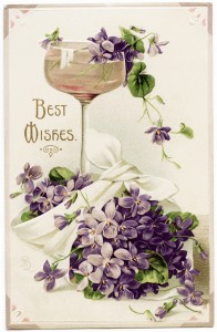 free public domain postcard, vintage violets image, best wishes postcard, wine glass illustration, purple flowers