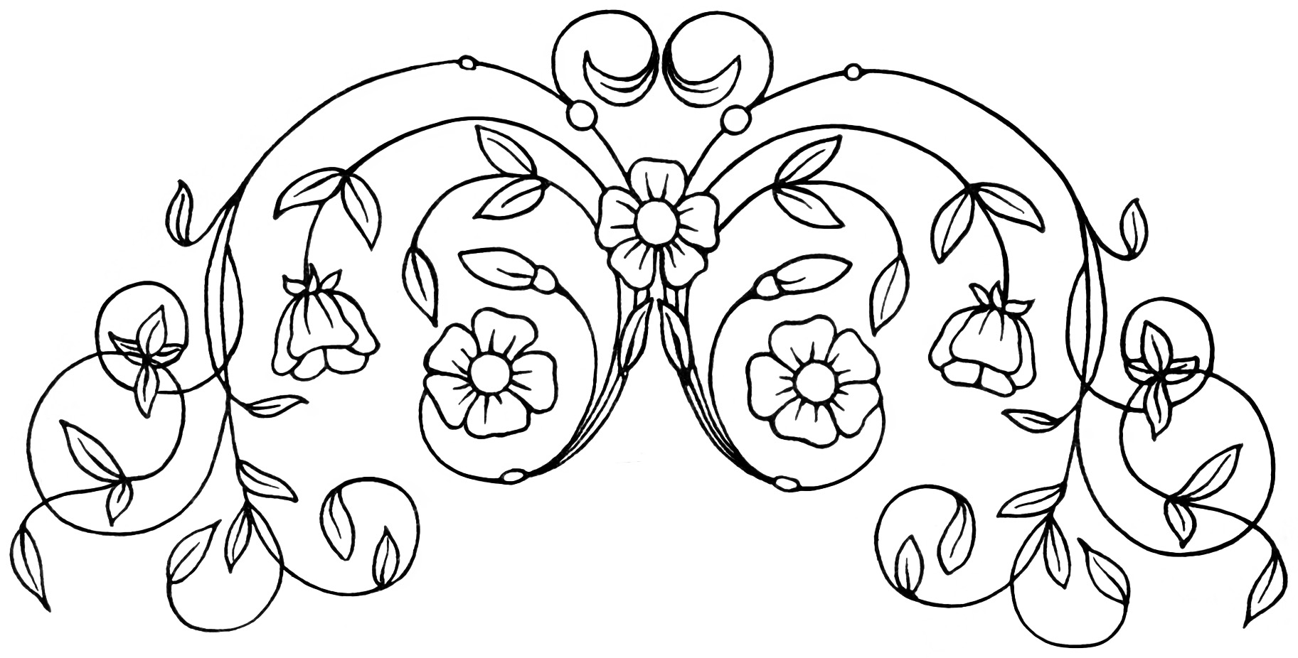 Line Art Embroidery : Free vintage clipart flowers leaves swirls old design