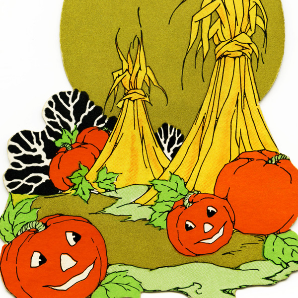free halloween clipart, halloween diecut, vintage halloween bridge tally, pumpkins, hay stooks, vintage halloween printable, cute halloween graphic