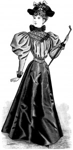 victorian fashion, victorian lady graphic, free vintage fashion illustration, ladies fashion 1895, elegant antique dress