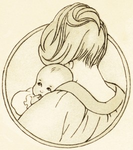 free vintage clipart baby, mother holding baby, antique baby book image, mom and baby graphic, baby illustration