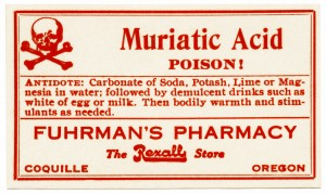 free vintage image, poison label, muriatic acid, fuhrman's pharmacy, red white poison label, antique label, clipart poison label
