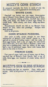 victorian trade card graphic, muzzy's starch, muzzys corn starch advertising card, corn starch vintage recipe, corn starch old cake recipe