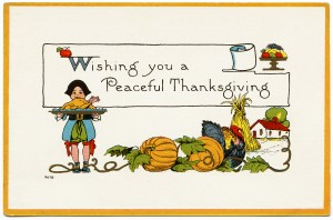 free vintage images, thanksgiving postcard, free vintage clipart thanksgiving, fall illustration, pilgrim, turkey, pumpkin, antique thanksgiving card, old thanksgiving image