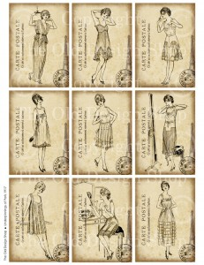 digital collage sheet, vintage french fashion, art journal card, digital atc, antique french ladies