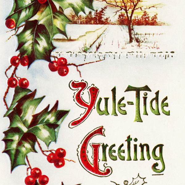 free public domain christmas postcard, old fashioned christmas, yule tilde greeting, antique holly christmas image, vintage christmas graphic