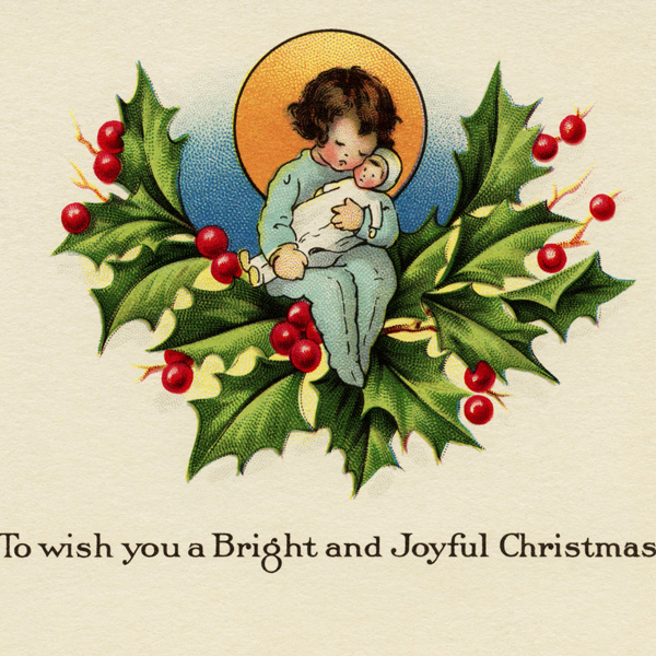 free vintage christmas image, early greeting card, holly and berries, bright and joyful christmas card, antique christmas graphic