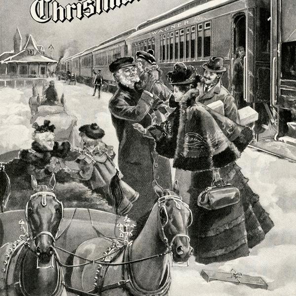 vintage christmas advertising, lake shore michigan southern railway, old fashioned christmas image, family home for christmas, antique christmas illustration