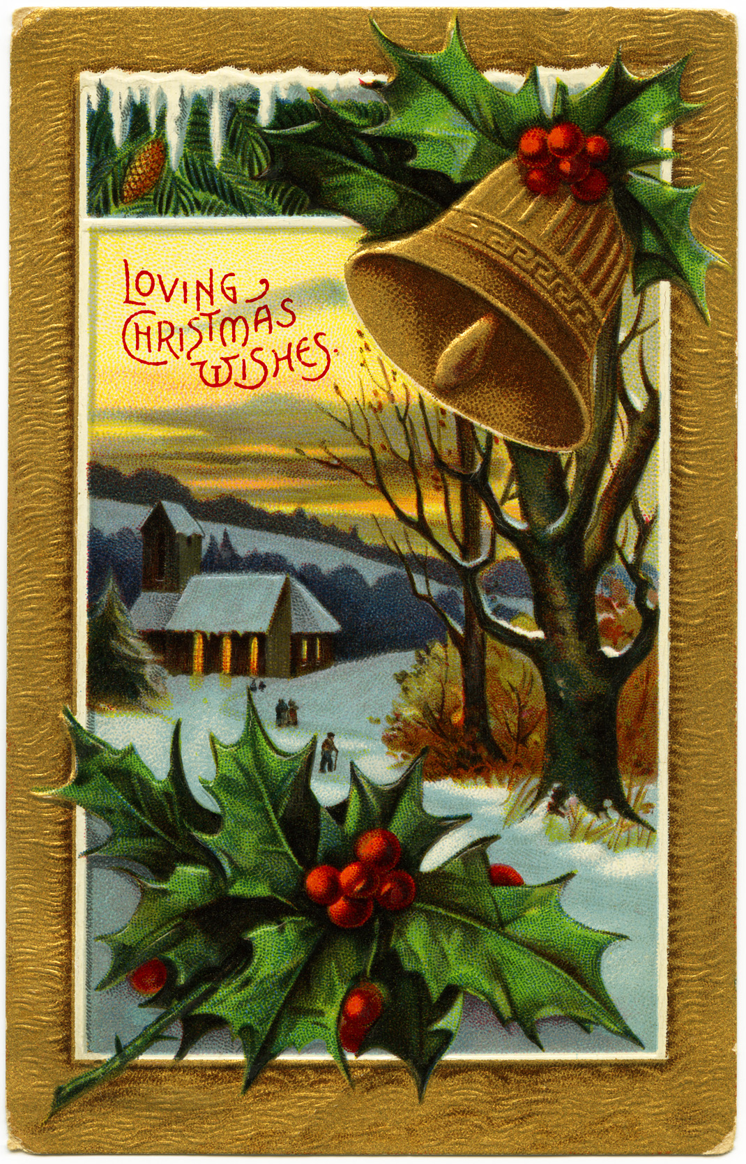 Free vintage christmas image christmas church scene old fashioned
