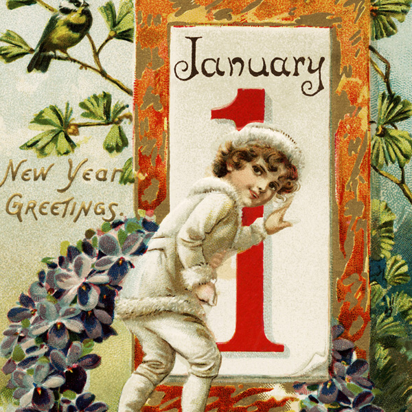 ree vintage postcard, tucks new year postcard, antique postcard graphic, child in white outfit, January 1 illustration