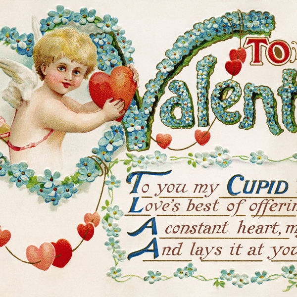 antique valentine postcard, cupid holding heart, free vintage blue valentine image, old fashioned valentine, valentine hearts cupid graphic