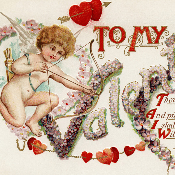 free vintage valentine image, antique valentine postcard, cupid with bow and arrow, valentine hearts graphic, old fashioned valentine