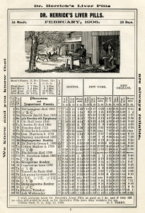 free vintage almanac graphic, herricks almanac February 1906, important events 1906, old book page, antique almanac