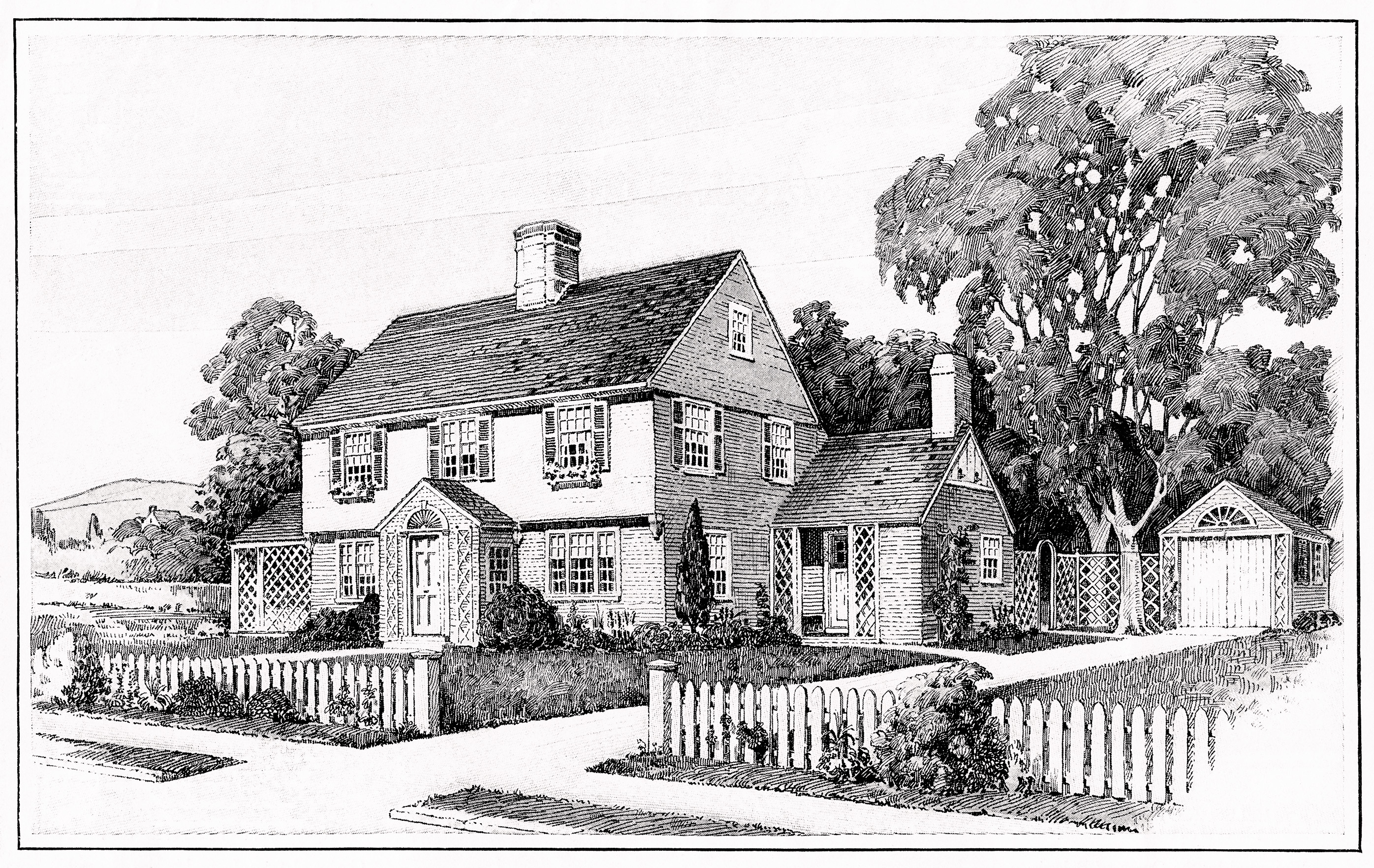 1917 house illustration and floor plans old design shop blog Black and white homes