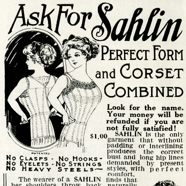 antique ladies corset, vintage magazine ad, old fashioned undergarment, victorian fashion, sahlin advertising