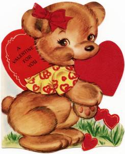 vintage valentine, old fashioned children's valentine card, little bear valentine, royalty free retro valentine, little brown bear graphic