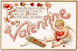 vintage valentine, cupid stitching heart, antique postcard, floral valentine series, cupid graphic