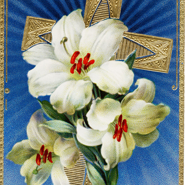vintage easter postcard, white lilies, gold cross, old easter card, easter graphics