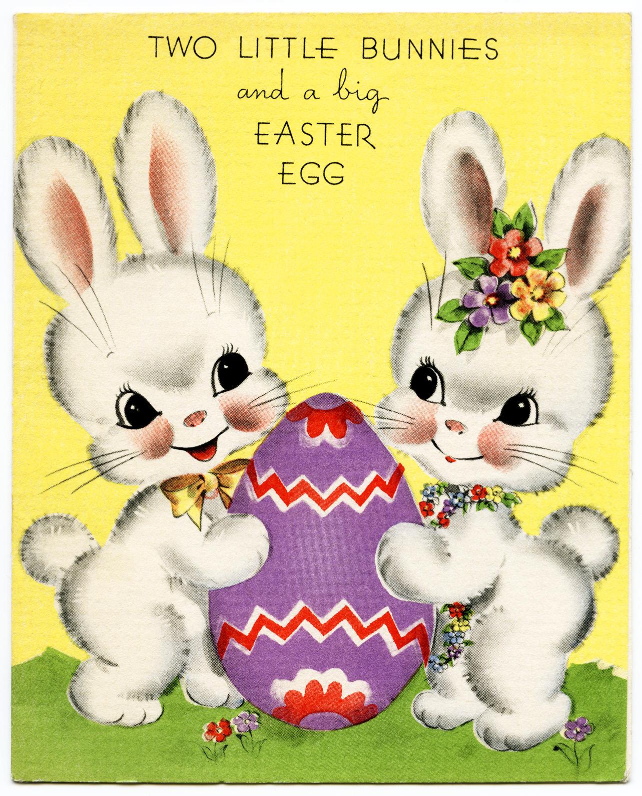 Free Vintage Image ~ Bunnies Easter Card | Old Design Shop ...