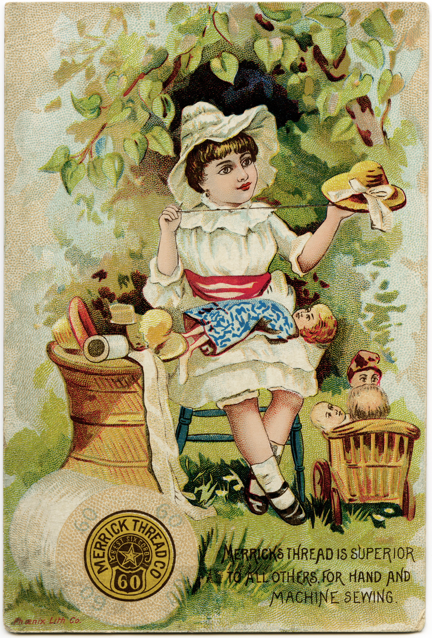 vintage trade card, merrick thread, victorian ad card, girl sewing ...