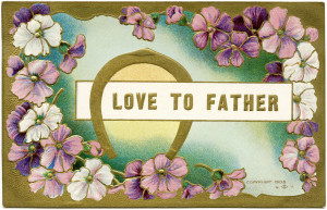 vintage father card, postcard flowers, digital floral clip art, victorian fathers day image, vintage digital graphics