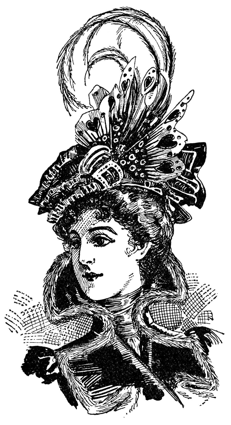 Antique Images: Digital Vintage Hat Fashion Women's Clip ...  |Vintage Hat Art