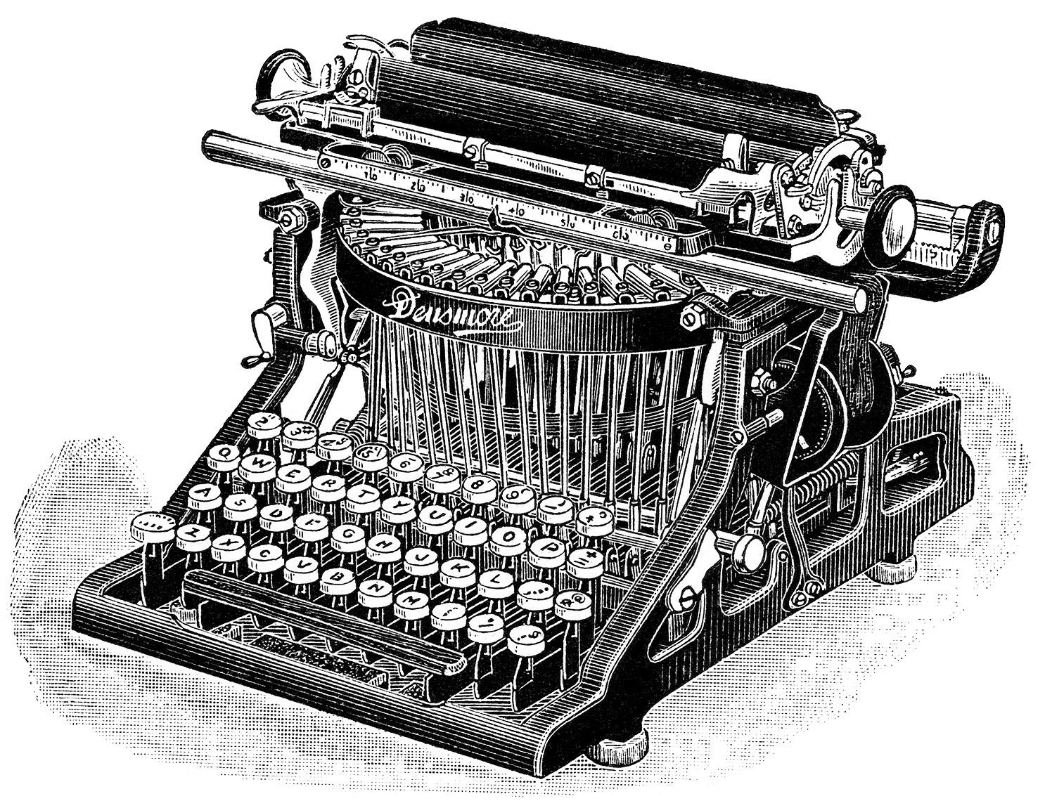 Free Vintage Clip Art Densmore Typewriter | Old Design ...