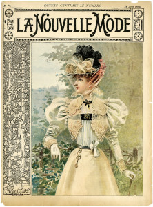 vintage French fashion, la nouvelle mode, magazine cover, 1900 dress image, printable antique dress clipart