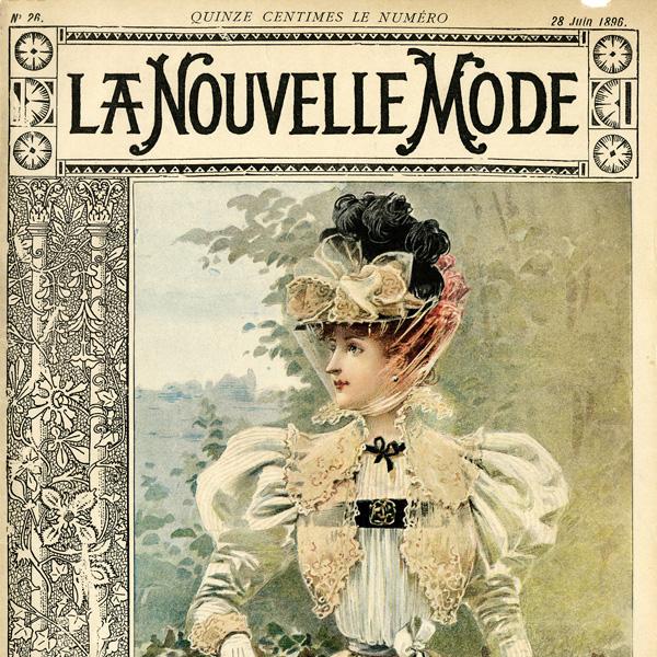 vintage French fashion, la nouvelle mode, magazine cover, 1900 dress image, printable antique dress clipart